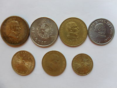 - Uruguay-  7  Old  &  New Coins  – All Different - Some Rare -1965-1994 #7Ad