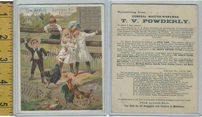 Victorian Card, 1890's, Dr. Hands Medicine, Children, Farm, Chickens