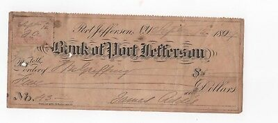 1899 Bank Of Port Jefferson NY Cancelled Check