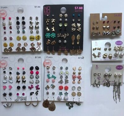 Lot of 105 Pairs of Studs Hoops  and Dangle Earrings Hypo Allergenic New - Lot B