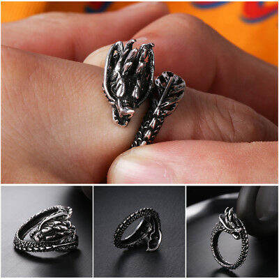 Jewelry Glow in the Dark Opening Dragon Ring Luminous Ancient silver Adjustable