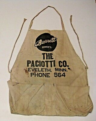 VINTAGE EVELETH MINNESOTA PACIOTTI LUMBER Co. ADVERTISING CARPENTER TOOL APRON