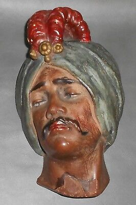 Vintage African / Arabian Man with a Turban Chalkware String Holder