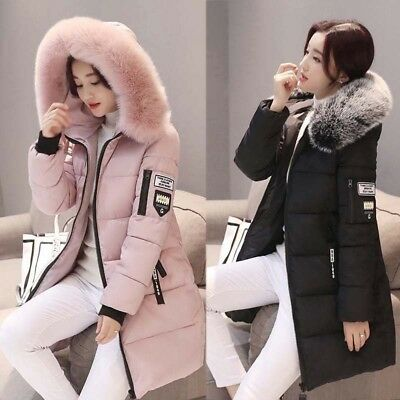 Women's Winter Hooded Long Jacket Slim Fur Collar Thicken Warm Cotton Coat Hot