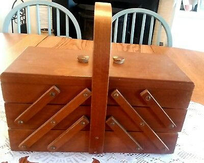 "Expandable Sewing Box Wooden Accordian Romania 42"" Table Top style"