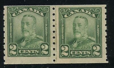 Canada 1929 KGV Scroll 2c green coil Paste Up Pair #161i MNH