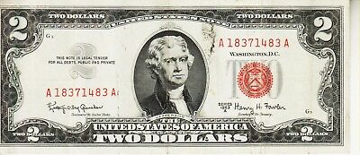 1963 A    Two Dollar Red Seal CIRCULATED