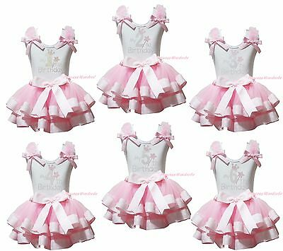 My 1ST 2ND 3RD Birthday White Top Pink Dots Satin Trim Skirt Girls Outfit NB-8Y