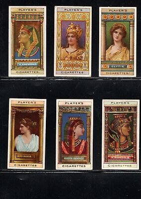 Very Early Ancient Egyptian Queens Cigarette Cards, 6 Different Cards