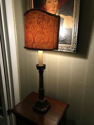 Antique Gilt Wood  Carved  Corinthian Topped Alter Stick Table Lamp