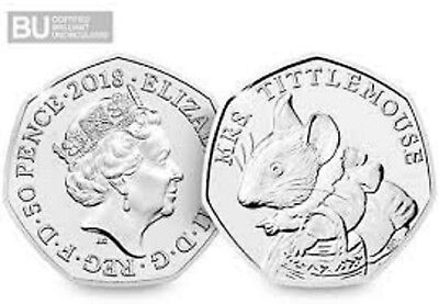 2018 Uk Beatrix Potter Mrs.tittlemouse Certified Bu 50P- Official Uk Issue