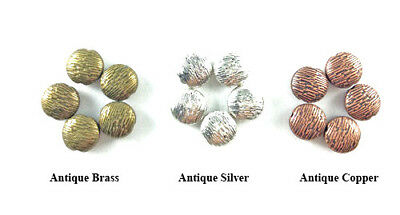 Antique Copper Brass Silver 10mm Decorative Lined Puffy Coin Beads Q20