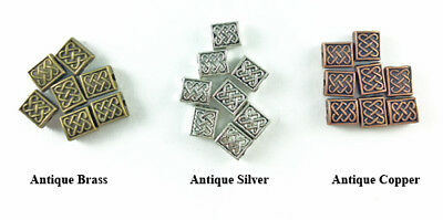 Antique Copper Brass Silver Lead Free 7x6mm Celtic Weave Rectangle Beads Q70