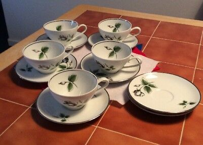 Vintage Stonegate Germany Bavarian China Midnight Rose 7 Saucers 5 Cups