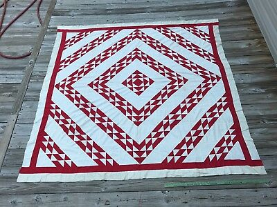 Antique Red and White Quilt TOP Barn Raising Appliqué Log Cabin Flying Geese WOW