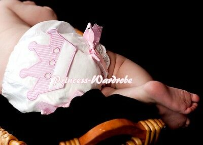White Pantie Bloomer with Cutte Pink Crown Printing Various Bows For Skirt 6m-3Y