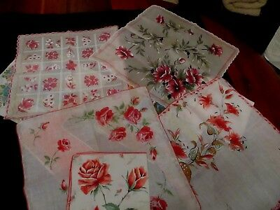 """Vintage lot of 17 Floral hankies, Linens, cottons, 14 to 16"""""""