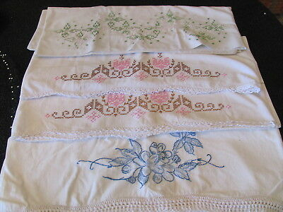 Mixed Lot of 4 Vintage Pillow Cases - Embroidery Cross Stitch Crochet Edge
