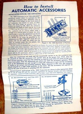 1958 Installation Instructions for Lionel Automatic Accessories