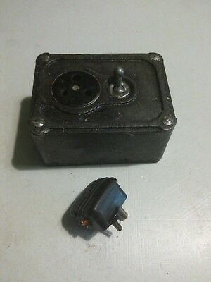 Vintage Indust Cast Iron Single 3 pin   Socket by Britmac  /no free plugs left !