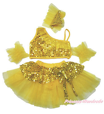Sparkle Sequins Yellow Ruffle Top Kids Girl Ballet Dance Tutu Skirt Costume 1-8Y