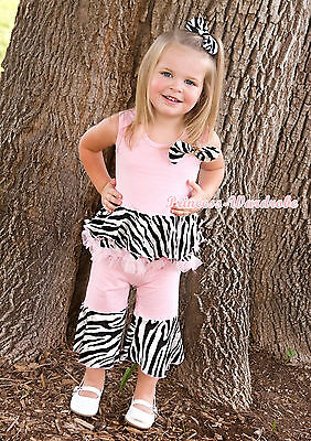 Light Pink Zebra Mermaid Tutu Top and Ruffle Pants Outfit Set Girl Clothing 1-8Y