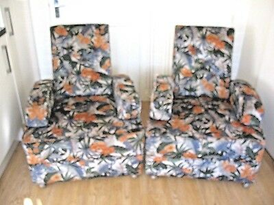 Unusual old vintage pair of art deco metamorfic armchairs can be a double sofa #