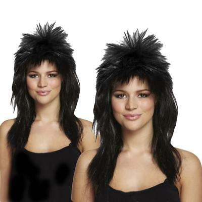 Adult 80s Ladies Black Glam Rock Diva Wig Fancy Dress Spike Mullet Punk