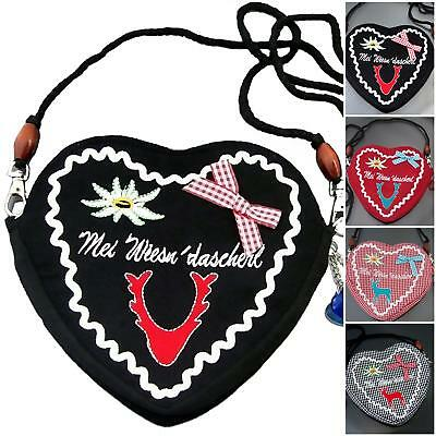Bag Heart Shoulder 18x16cm Dirndl Costume Oktoberfest Traditional VTa2