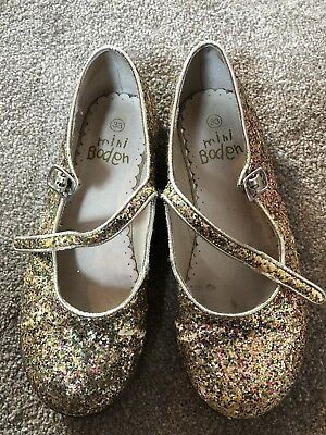 Mini Boden Gold/Multi Sparkle Glitter Mary-Jane Party Shoes - Size 33