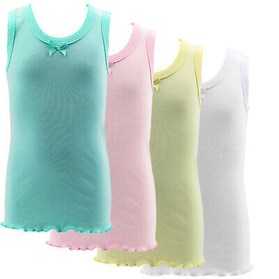 2 or 4 Pack BOW DETAIL GIRLS Colorful UNDERSHIRT Camisole TANK TOPS Sizes 1-16