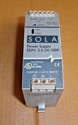 Sola Power Supply SDN 2.5-24-100P , 115/130 VAC , 1.3-0.7 amp