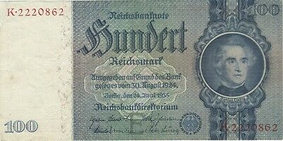 1935 100 Reichsmark Nazi Germany Currency Banknote Note Money Bill Swastika Wwii