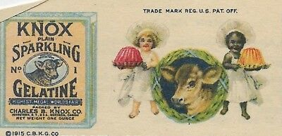 1930s Knox Gelatine recipe leaflet with stereotyped African American Girl Cook