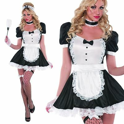 Ladies Sassy French Maid Rocky Horror Outfit Bedroom Magenta Fancy Dress Costume