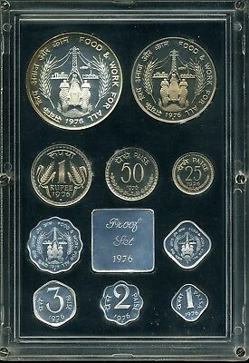 India 1976 10-Coin Proof Set in Plastic Case with Certificate of Authenticity
