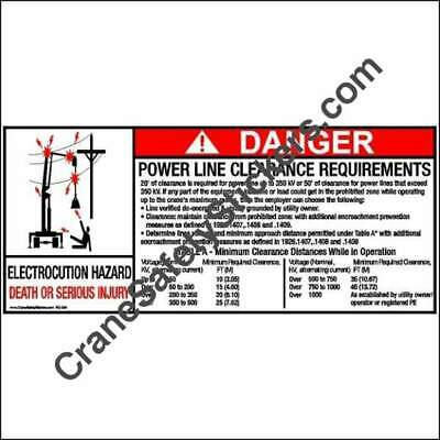 Crane Safety Sticker Bucket Truck Power Line Clearance Requirements Decal