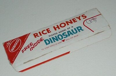 1950's Nabisco Rice Honeys Cereal Box top w/ Dinosaur premium offer