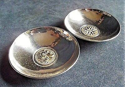 Superb PAIR ~ .925 Solid SILVER & GILT ~ Pip DISHES ~ (Alexander the Great)