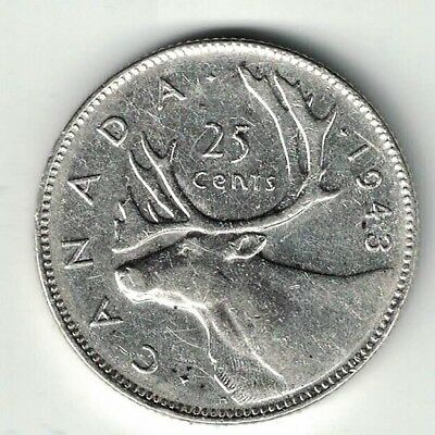 Canada 1943 25 Cents Quarter King George Vi Canadian Silver Coin