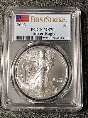 2003 1 oz Silver American Eagle MS-70 PCGS (First Strike)