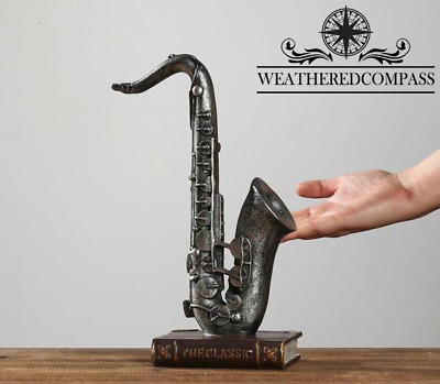 Saxophone Musical Sculpture Standing Decor, 12""