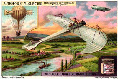 6 Cards Glimpses of earlier Events Balloon Airplane Sky scraper Artillerie Litho