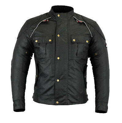 Wax Cotton Classic Black Textile winter Motorcycle Jackets waterproof CE Armourd