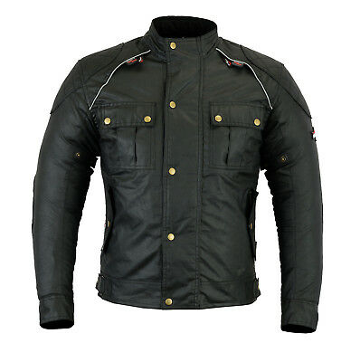 Waxed Cotton Classic Black mens Textile Motorcycle Jacket waterproof CE Armoured