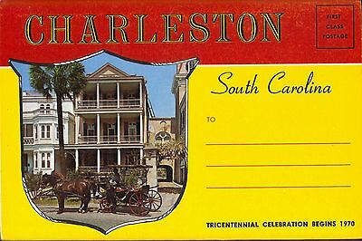 SOUTH CAROLINA Charleston 14 view Fold-out Postcard ca. 1950s unposted