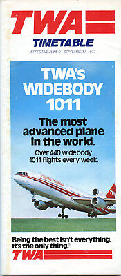 TWA Trans World Airlines June 9, 1977 System Timetable