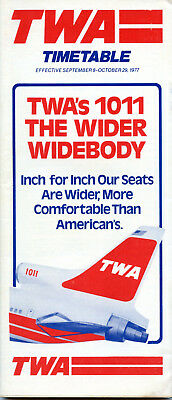 TWA Trans World Airlines September 8, 1977 System Timetable