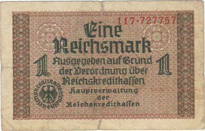 1 Reichsmark Nazi Germany Currency German Banknote Note Money Bill Swastika Wwii