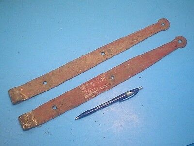 Antique Hand Forged Strap Hinges 15'' Long